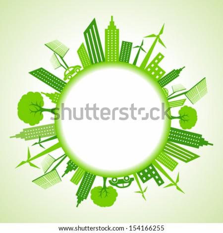 Eco cityscape around circle stock vector - stock vector