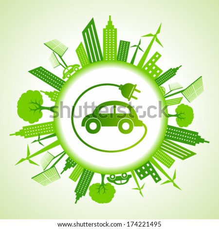 Eco cityscape with car stock vector