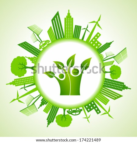 Eco cityscape with green people icon stock vector - stock vector