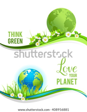 Eco concept and globe for design banner,ticket, leaflet and so on.Template page for Earth day. Holiday banners - stock vector