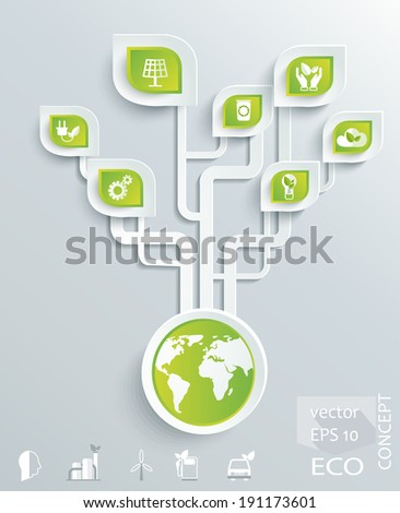 Eco concept. Globe with earth, nature, green, recycling, bicycle, car icon. Vector illustration  - stock vector