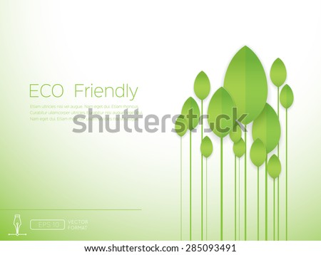 Eco concept - Green abstract long tree on white background - Vector design concept - stock vector