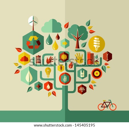 Eco conservation city conceptual tree design. Vector file layered for easy manipulation and custom coloring. - stock vector