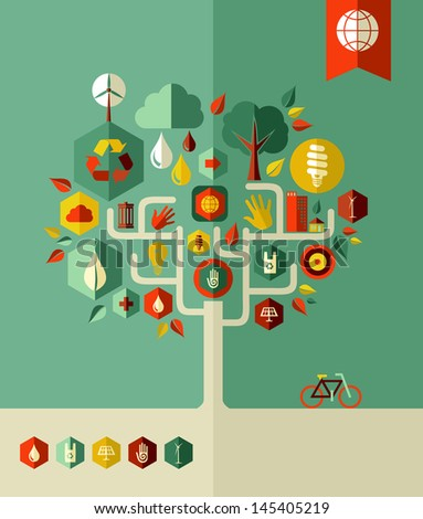 Eco conservation city conceptual tree  . Vector file layered for easy manipulation and custom coloring. - stock vector