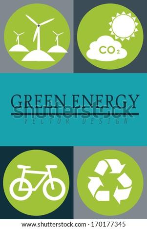 eco design over gray background vector illustration  - stock vector