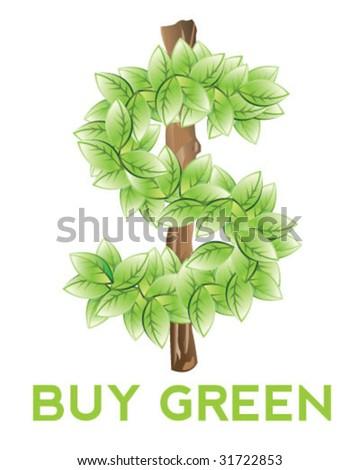 Eco Dollar Sign - Vector Illustration - stock vector