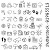 Eco doodle icon set - stock photo