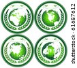 Eco Earth globe stamps with wreath - stock vector