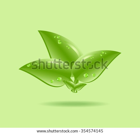 Eco element icon with green leaf and shadow. Vector illustration of ecology concept icon with glossy green leaves isolated. - stock vector