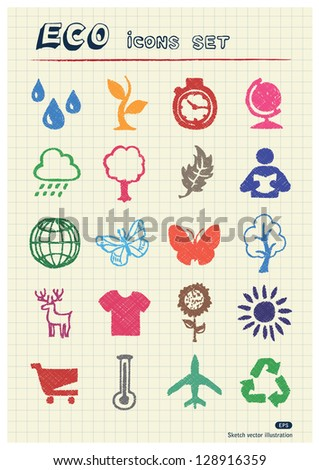 Eco elements and environment web icons set drawn by color pencils. Hand drawn vector elements pack isolated on paper - stock vector