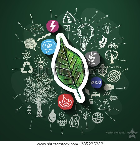 Eco energy collage with icons on blackboard. Vector illustration - stock vector