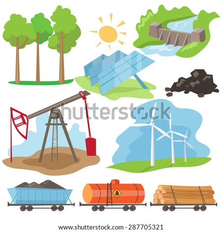 Eco energy design concept set with green fuel planet home flat icons isolated vector illustration - stock vector