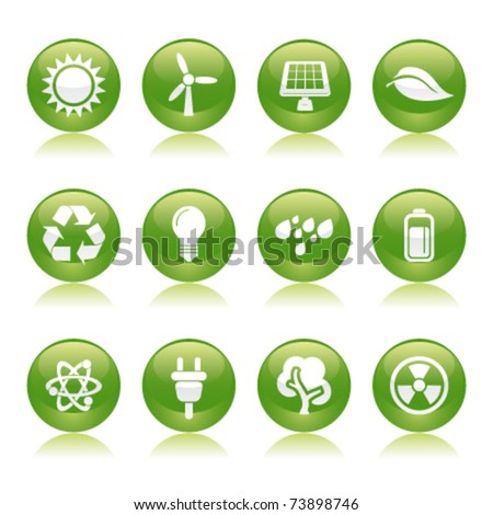 eco energy glossy icons - stock vector