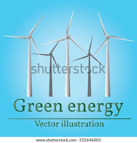 Eco energy. Green energy. Wind energy. Vector. - stock vector