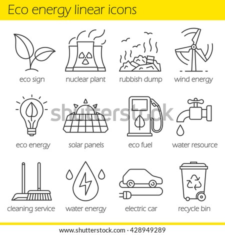 Eco energy linear icons set. Electric car, nuclear plant, rubbish dump, wind power, solar panels, green energy, water resource, bio fuel, cleaning service. Thin line. Isolated vector illustrations - stock vector