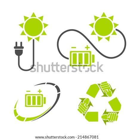 Eco energy logo. Recycle, energy saving symbols. Ecology icons set  - stock vector