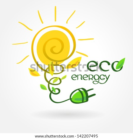 eco energy solar sun alternative power - stock vector
