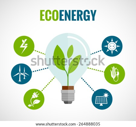 Eco energy solution flat round  icons composition poster with windmills and solar panels symbols abstract vector illustration - stock vector