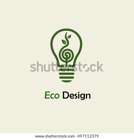 Eco Energy. Symbolic sprout plant spiral and lightbulb. Template for creating logos, emblems, monograms.