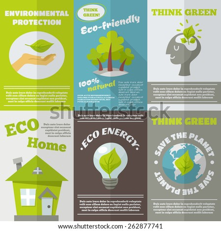 Eco energy think green environmental protection mini poster set isolated vector illustration - stock vector
