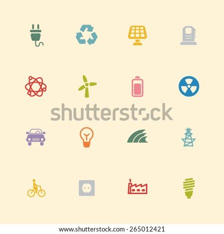 Eco energy vintage colour icons