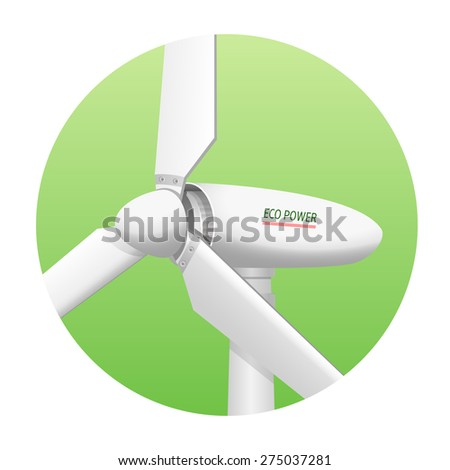 Eco energy wind turbine close up. Wind-powered electrical generator as a source of green ecological power supply. - stock vector