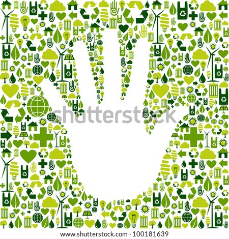 Eco environment icons set background in human hand shape. Vector file available. - stock vector