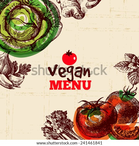 Eco food vegan menu background. Watercolor and hand drawn sketch vegetable. Vector illustration - stock vector
