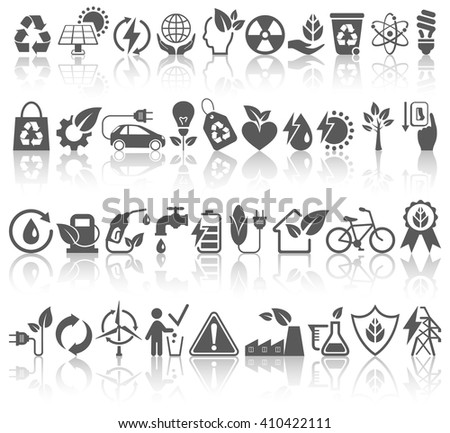 Eco Friendly Bio Green Energy Sources Black Icons Signs Set with Reflection Isolated on White Background - stock vector