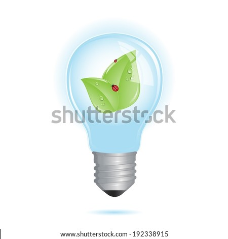 Eco friendly bulb with leaf and ladybug inside