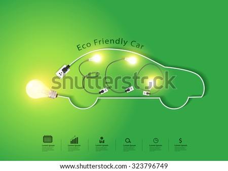 Eco friendly car with creative light bulb ideas concept, Vector illustration modern design template - stock vector