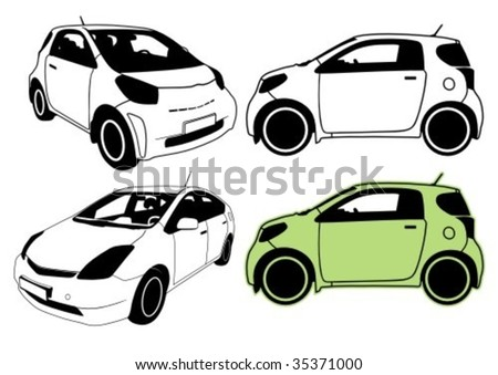 Eco-friendly cars vector illustration. - stock vector