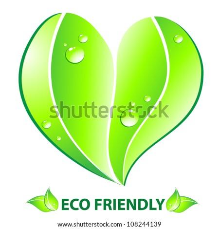 Eco friendly concept. Heart leaf shape. Vector illustration - stock vector