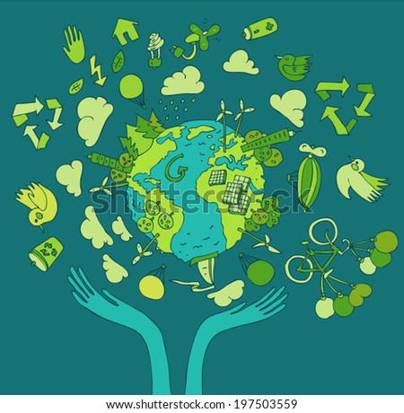 Eco Friendly concept, save earth concept, vector illustration, hand drawing