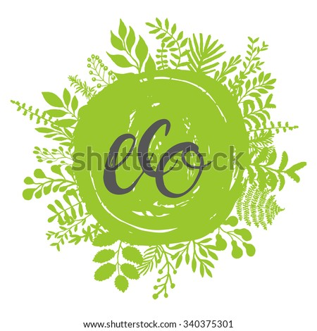 Eco friendly conceptual handwritten phrase ECO on green grunge stain with florals around it. For banners, posters, t-shirts, cards, stickers, advertisement. Brush typography. Vector illustration  - stock vector