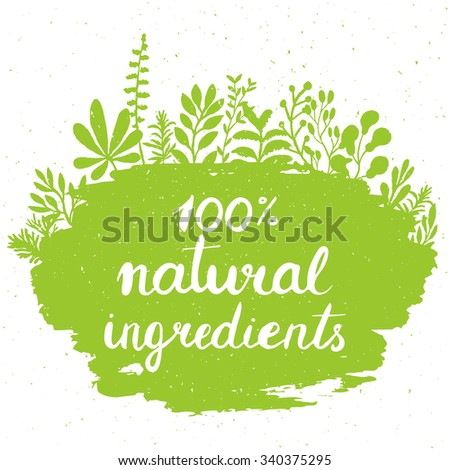 Eco friendly conceptual handwritten phrase 100% natural ingredients on green grunge stain with floral around it. For banners, posters, t-shirts, cards, stickers, advertisement.  Vector illustration  - stock vector