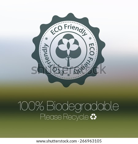 Eco friendly design against blurred background. - stock vector
