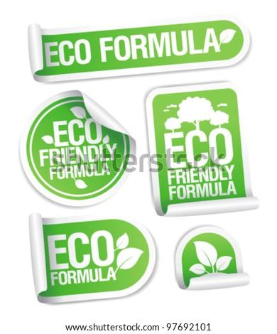 Eco Friendly Formula stickers set. - stock vector
