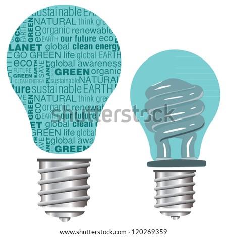 Eco Friendly green and blue vector light bulbs - stock vector