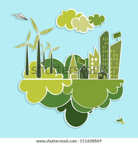 Eco friendly green city trees, buildings, houses, wind turbines and green clouds illustration. Vector layered for easy editing. - stock vector