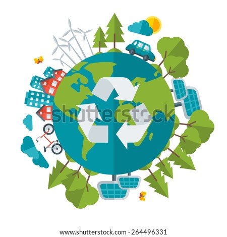 Eco Friendly, green energy concept, vector illustration. Solar energy town, wind energy, electric cars. Save the planet concept. Go green. Save the Earth. Earth Day.