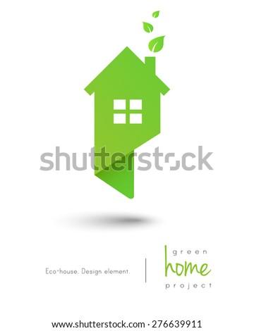 Eco-friendly green home logo as map pin design - stock vector