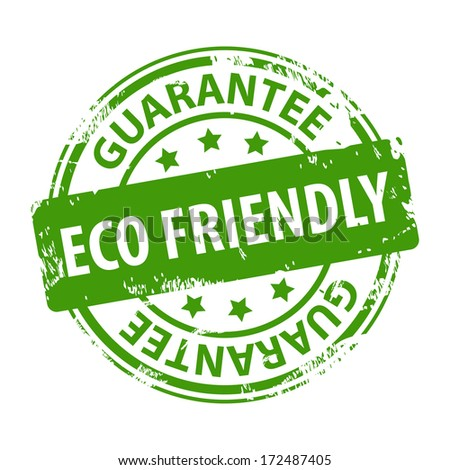 ECO Friendly guarantee green rubber stamp symbol or icon isolated on white background. Vector illustration - stock vector