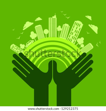 eco friendly hand concept - stock vector
