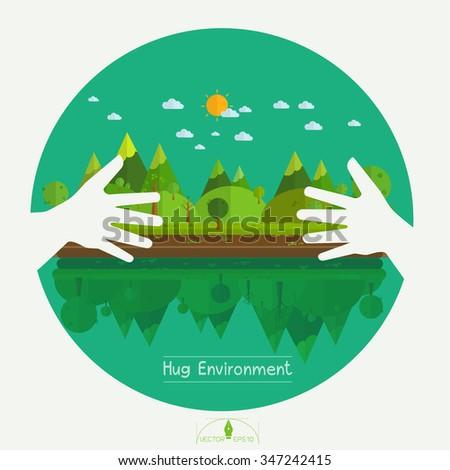 Eco friendly hands hug concept green tree.Environmentally friendly natural landscape.Vector illustration - stock vector