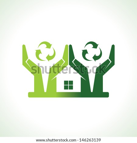 Eco friendly home forming by hand protecting nature vector - stock vector