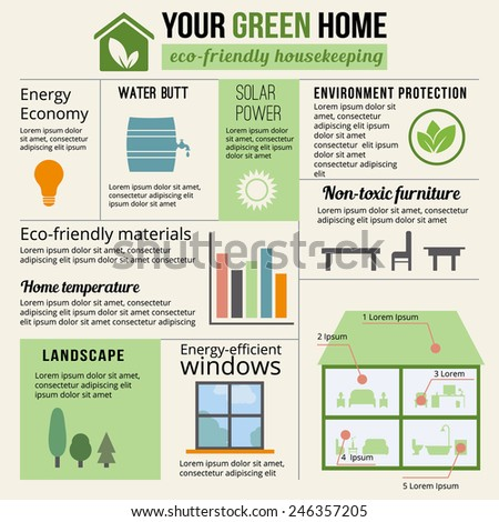 Eco-friendly home infographic. Ecology green house. Vector illustration. - stock vector