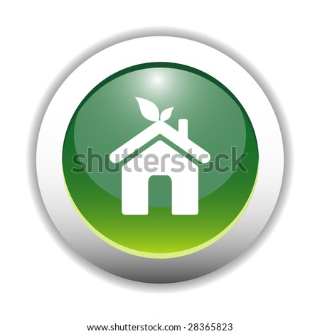 Eco Friendly Home Sign Button - stock vector