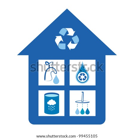 Eco friendly home water conservation concepts - tap water conservation, water recycling symbol, rain water tank, shower water conservation. - stock vector