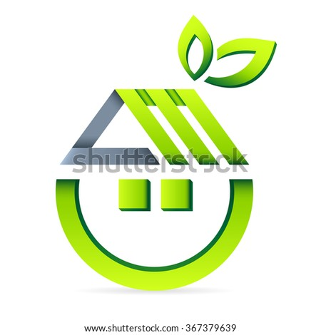 eco friendly house - real estate icon - stock vector